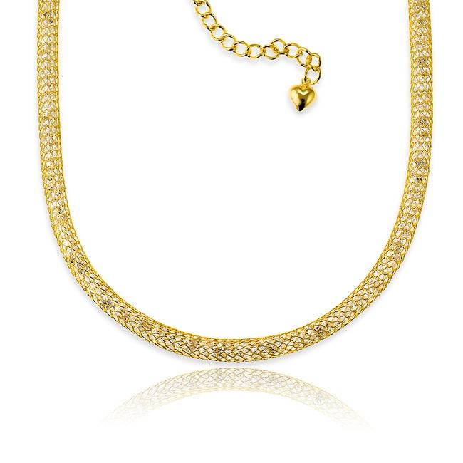 La Preciosa Gold over Silver CZ Mesh Necklace