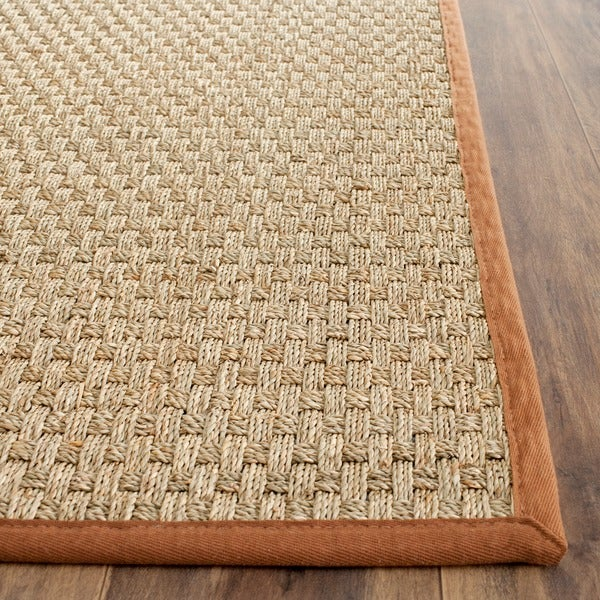 Safavieh Casual Natural Fiber Natural and Brown Border Seagrass Rug (2'6 x 4')