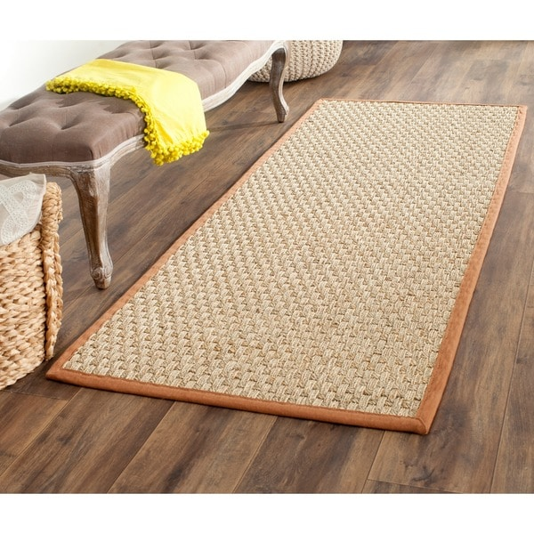 Safavieh Casual Natural Fiber Natural and Brown Border Seagrass Runner (2'6 x 6')
