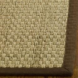 Hand-woven Sisal Natural/ Brown Seagrass Rug (8' Square)