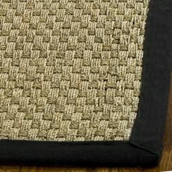 Hand-woven Sisal Natural/ Black Seagrass Rug (8' Square)