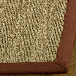 Handwoven Sisal Natural/Red Seagrass Bordered Rug (8' Square)