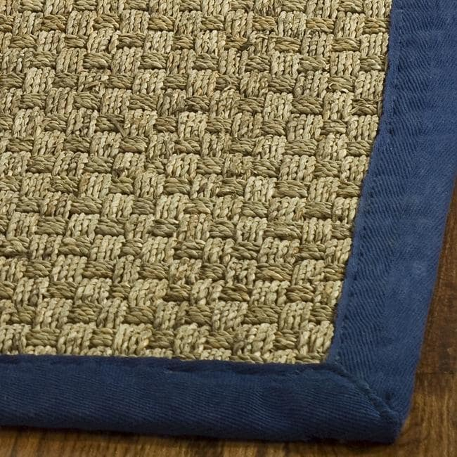 Seagrass Circular Rug: Safavieh Hand-woven Sisal Natural/ Blue Seagrass Rug (8