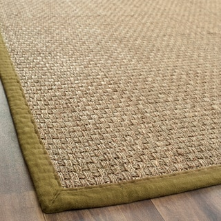 Handwoven Sisal Natural/Olive Bordered Seagrass Runner (2'6 x 4')