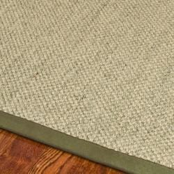 Hand-woven Resorts Natural/ Green Tiger Weave Sisal Runner (2'6 x 16')