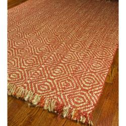 Hand-woven Arts Natural/ Rust Fine Sisal Rug (8' Square)