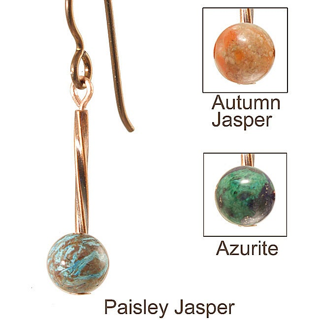 Copper 'Swirls and Stones of Copper' Earrings