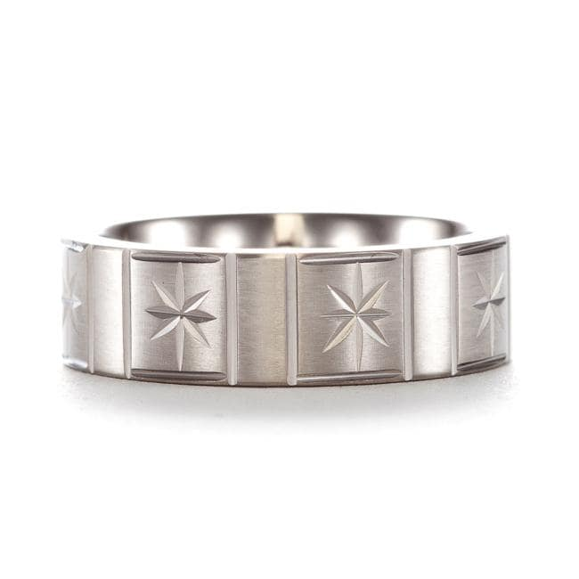 Men's Titanium Engraved Star Design Band