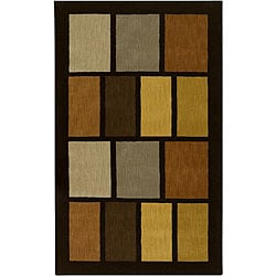 Hand-tufted Black Contemporary Multi Colored Square Tailored Wool Geometric Rug (8' x 11)
