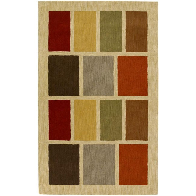 Hand-Tufted Beige Contemporary Multicolored Square Tailored Wool Geometric Area Rug