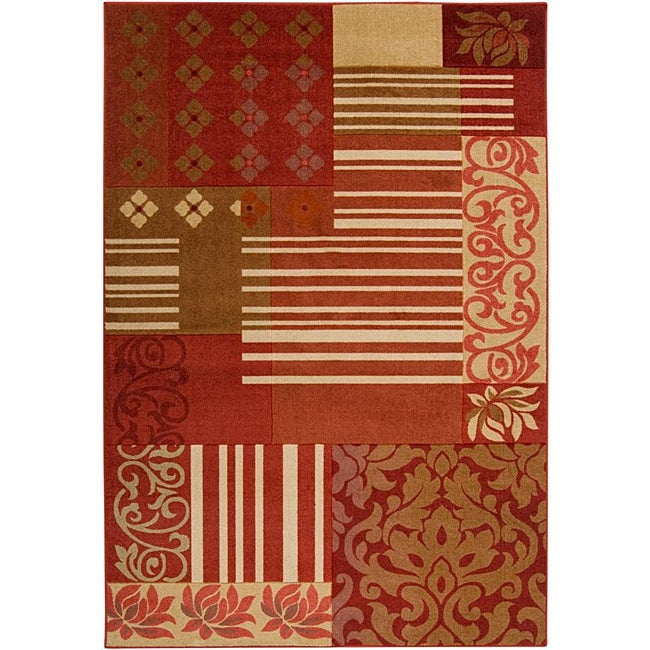 Loomed Replica Red Floral Rug (7'10 x 10'1)