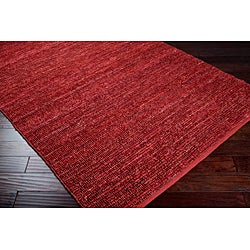 Hand-woven Cottage Red Natural Fiber Jute Rug (3'6 x 5'6)