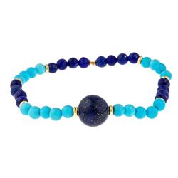 D'Yach Gold over Silver Blue Lapis and Reconstituted Turquoise Stretch Bracelet