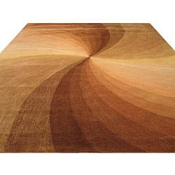 Hand-tufted Brown Swirl Wool Rug (7'9 x 9'9)