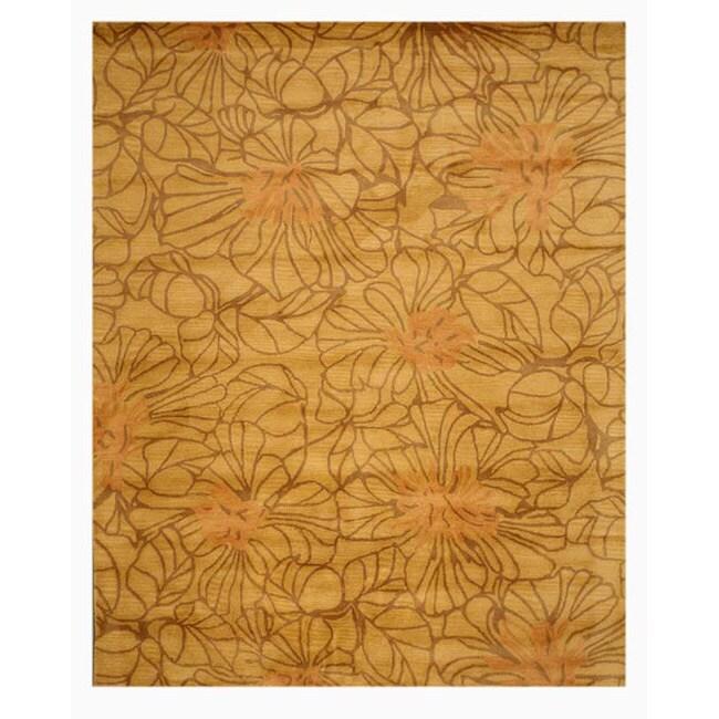 Hand-tufted Darma Gold Wool Rug (7' 9 x 9'9)