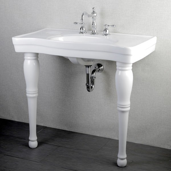Vintage 36 Inch Wall Mount Pedestal 8 Inch Center Bathroom Sink Vanity