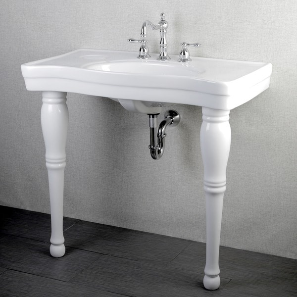 2 Pedestal Sinks Bathroom : ... Vintage 36-inch Wall-mount Pedestal 8-inch Center Bathroom Sink Vanity