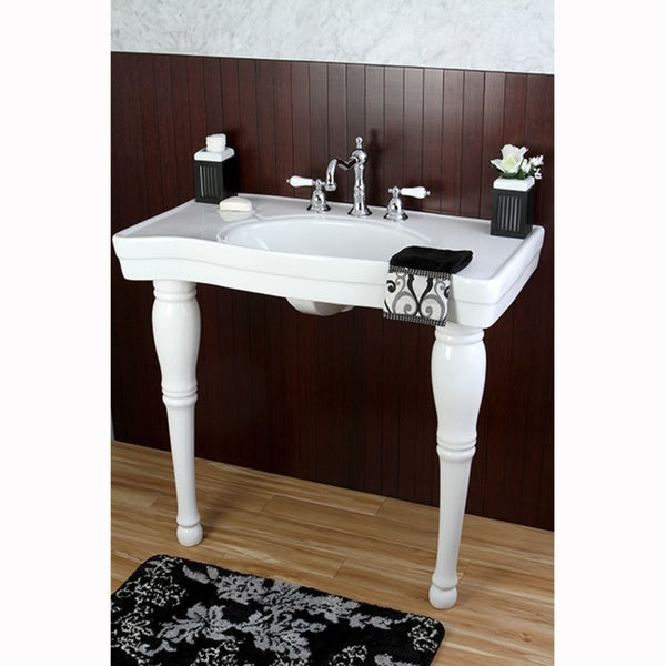36 Pedestal Sink : Vintage 36-inch Wall-mount Pedestal 8-inch Center Bathroom Sink ...