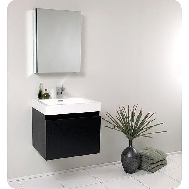 fresca nano black bathroom vanity with medicine cabinet overstock