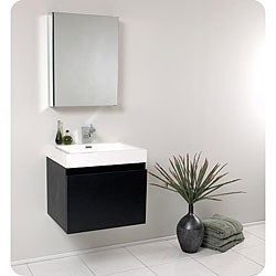 Fresca Nano Black Bathroom Vanity with Medicine Cabinet
