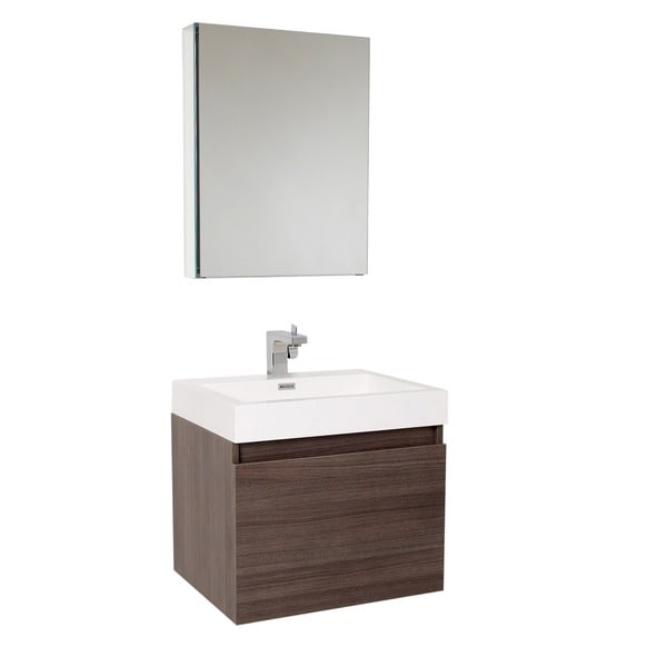 Fresca Nano Grey Oak Bathroom Vanity with Medicine Cabinet