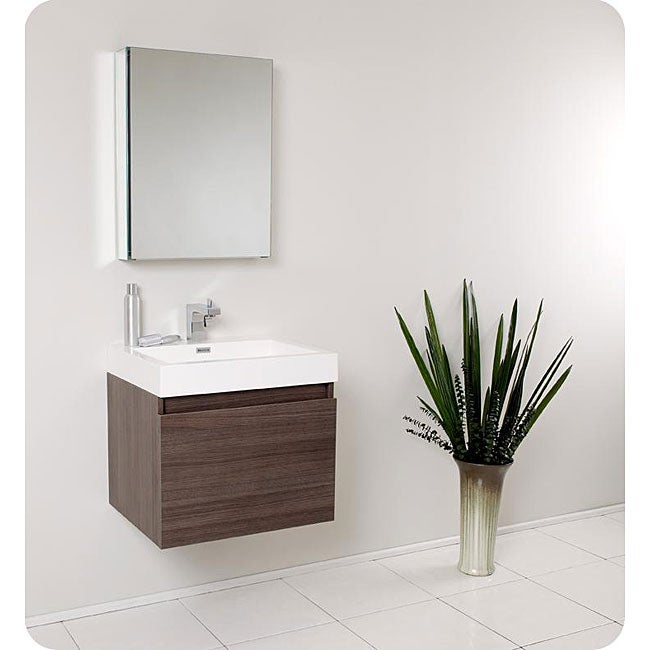 fresca nano grey oak bathroom vanity with medicine cabinet overstock