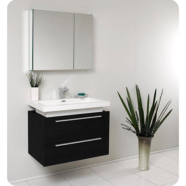 fresca medio black bathroom vanity with medicine cabinet