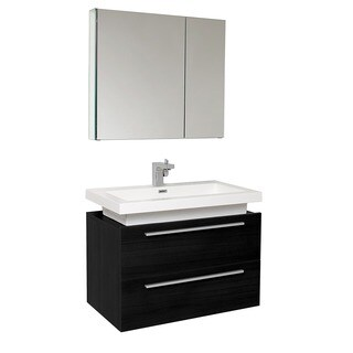 Fresca Medio Black Bathroom Vanity with Medicine Cabinet