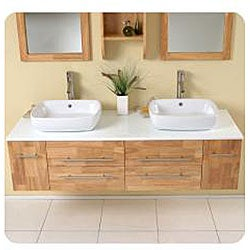 Fresca Bellezza Natural Wood Double-vessel Sink Bathroom Vanity