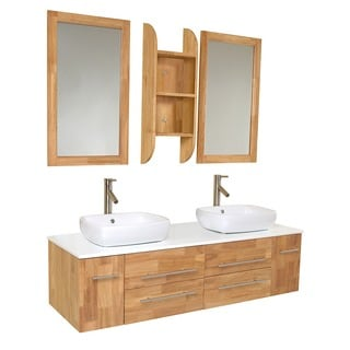 Fresca Bellezza Natural Wood Double-vessel Sink Bathroom Vanity