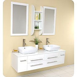 Fresca Bellezza White Double-vessel Sink Bathroom Vanity