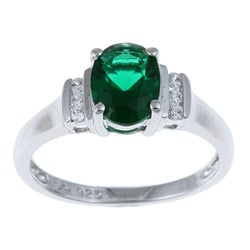 Sterling Essentials Sterling Silver Green Cubic Zirconia Cocktail Ring