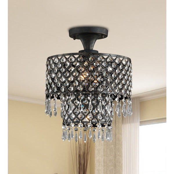 Melinda 3-light Antique Bronze/ Crystal Flush-mount Chandelier