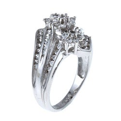 Sterling Essentials Sterling Silver White Cubic Zirconia Cocktail Ring