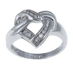 Sterling Essentials Sterling Silver Cubic Zirconia Heart Knot Ring