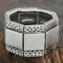 Silver Pewter Squares Etched Rectangles Stretch Bracelet (Turkey)