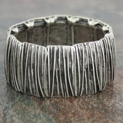 Silver Pewter Ridged Lines Narrow Stretch Bracelet (Turkey)