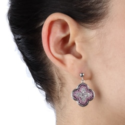 La Preciosa Sterling Silver Multi-colored Crystal Earrings
