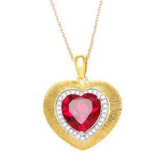 La Preciosa Goldplated Silver Red Cubic Zirconia Heart Necklace