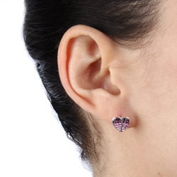 La Preciosa Sterling Silver Crystal Heart Stud Earrings
