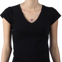 La Preciosa Sterling Silver Multi-colored Crystal Heart Necklace