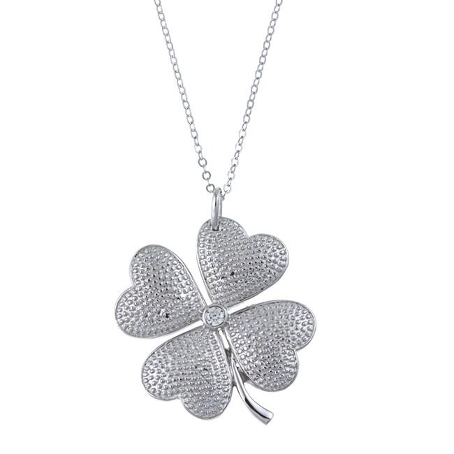 La Preciosa Sterling Silver Cubic Zirconia Four-leaf Clover Necklace