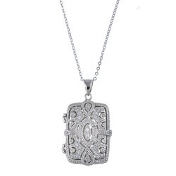 La Preciosa Sterling Silver Cubic Zirconia Rectangle Locket