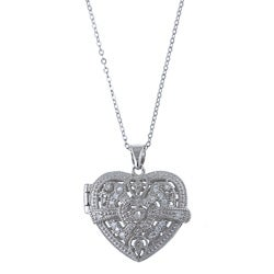 La Preciosa Sterling Silver Cubic Zirconia Heart Locket Necklace