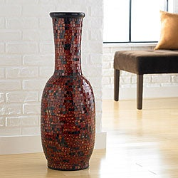 Aged Copper Mosaic Floor Vase (Indonesia)