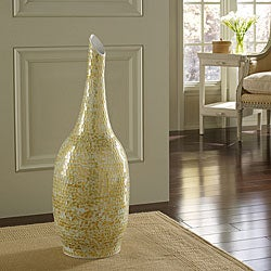 Golden Shimmer Mosaic Floor Vase, Handmade in Indonesia