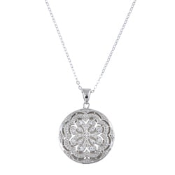 La Preciosa Sterling Silver Cubic Zirconia Circle Locket Necklace