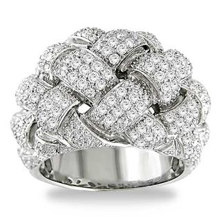 Miadora 18k White Gold 1 3/4ct TDW Pave Round-cut Diamond Ring (G-H, I1-I2)