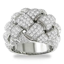 18k White Gold 1 3/4ct TDW Pave Round-cut Diamond Ring (G-H, I1-I2)