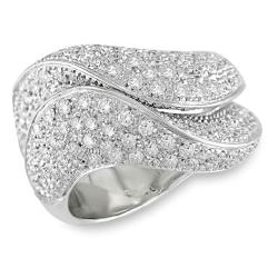 Miadora 18k White Gold 1 3/4ct TDW Pave Diamond Ring (G-H, I1-I2)